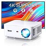 BOMAKER Proiettore WiFi Bluetooth, 2.4GHz+5GHz WiFi, 8000 Lumen Nativo 1080P Full HD e 4K Supporto, Trapezoidale Correzione a 4 Punti/Bluetooth 5.0, MTK358 Chip/Adatto per Ufficio/Home Theater