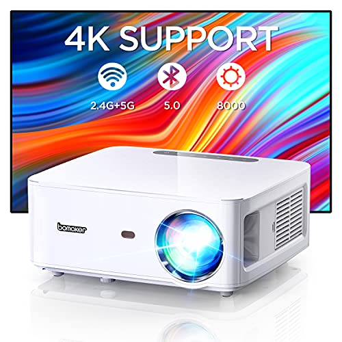BOMAKER 5G WiFi Bluetooth Beamer 8000 Native 1080P unterstutzt 4K Video, 4P-Trapezkorrektur für Büro, Zuhause, Gaming Heimkino Beamer kompatibel mit TV Stick/ Xbox/ PS4/ Laptop/ Smartphone