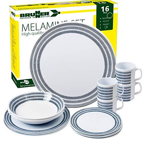 Brunner: Melamin-Geschirr Campinggeschirr, 4 Personen (16 Teilig), Bluebay, Grill Und Picknick