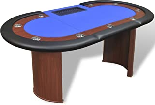 Tidyard 10 Players Poker Table with Dealer Area and Chip Tray 82