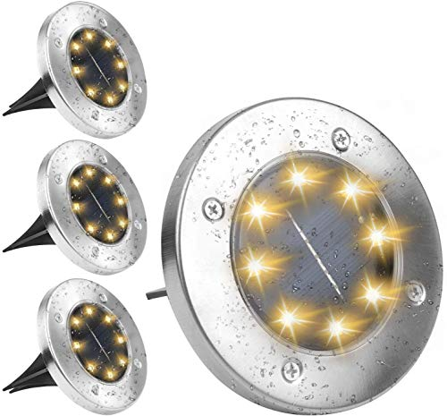 8 LED IP65 Luz de suelo solar a prueba de agua al aire libre para jardín, patio, césped, estanque y decoración de cubierta de camino. (Blanco cálido, 12 paquetes)