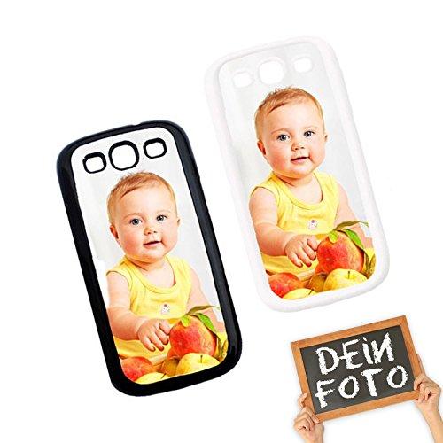PixiPrints Handyhülle aus Kunststoff selbst gestalten * eigenes Foto * Schutz mit eigenem Bild, Farbe:Schwarz, Kompatibel mit Samsung Galaxy S3