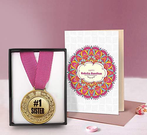 TIED RIBBONS Rakshabandhan Gift for Sister Raksha Bandhan Return Gift Golden Medal with Greeting Card