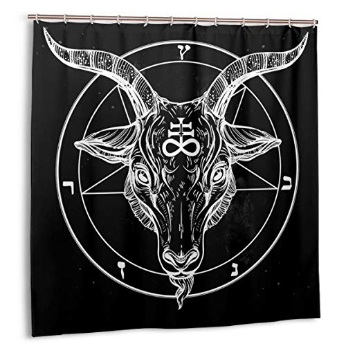 Pentagramm mit Dämon Baphomet Satanic Ziegenkopf Binäres Symbol Tattoo Retro Musik, Home Decoration Duschvorhang 60inX72in