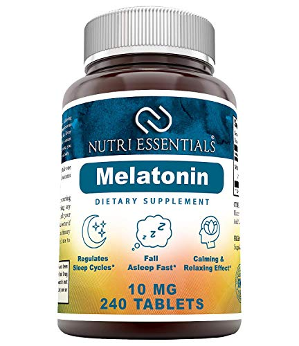 Nutri Essentials Melatonin 10 Mg 240 Tablets (Non-GMO)- Promotes Restful, All-Night Sleep - Helps Reduce Anxiety and Stress*