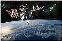 国際宇宙ステーションISS 大人のためのDIYダイヤモンドペインティングキット、5Dフルラウンドドリルダイヤモンドペインティングキット刺繡芸術家の装飾 40X50CM