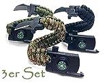 Jägerfeuer – Juego de 3 pulseras de cuerda de supervivencia multiherramienta – Piedra de fuego, cuchillo, brújula, silbato, cuerda – 5 en 1 Deporte Camping Exterior supervivencia