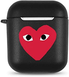 Airpod Case Compatible Full Protective Luxury Soft Rubber Premium Quality Silicone TPU 2109 Fashion Key Chain Headphones Comme des Garçons Inspired (Black-CDG)