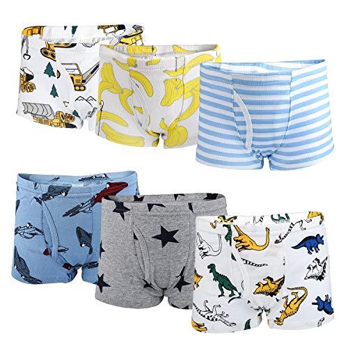 Flyish Jungen Boxershorts Jungen Unterwäsche Unterwäsche aus weicher Baumwolle 6er Pack-Jungen A-3-4 Jahre