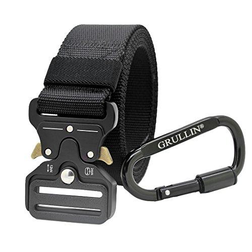 GRULLIN Heavy Duty Táctico Cinturon, Estilo Militar Web Reggers Cinturon, CQB Quick-Release Metal Hebilla Cinturón con Mosquetón con Cierre de Aluminio (Black-13)