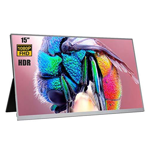 Monitor portatile Full HD da 15'1080P, doppio monitor da gioco con schermo HDR IPS ultra sottile USB C, display a visione intera 178 ° Mini HDMI per PC portatile Switch PS4 Xbox
