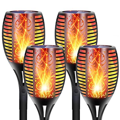 DIKAIDA 4-Pack Solar Torch Lights, 96 LEDs Waterproof Flickering Flames, 2200mAh Super Large...