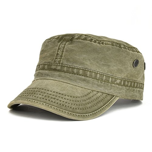 VOBOOM Washed Cotton Military Caps Cadet Army Caps Unique Design Vintage Flat Top Cap (Army Green)