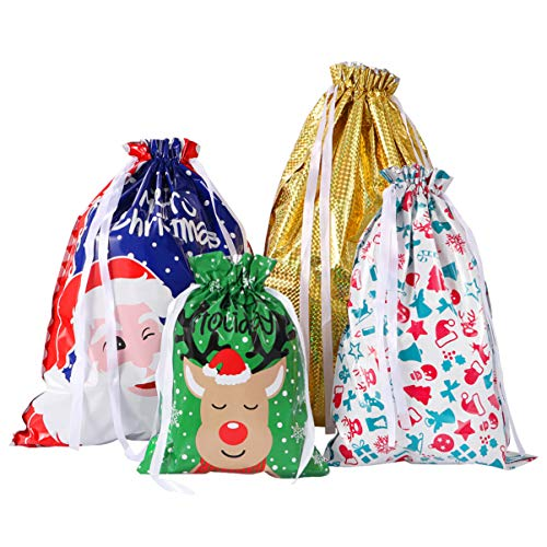 Amosfun Bags 30PCS Christmas Treat Bags Drawstring Gift Bag Colorful Goodie Bags Party Favors Wraps Gift Wrapping Bags for Xmas Party Birthday Wedding