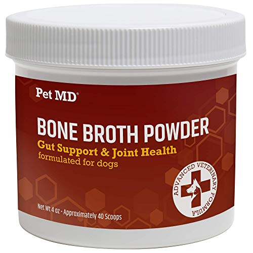 Pet MD Bone Broth for Dogs - Dog Food Toppers with Vitamins, Amino Acids, Natural Joint and Digestion Support - Made from Grade A Free Range Elk Bone Powder - 4 oz