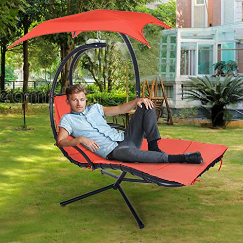 Wtsup Outdoor Hanging Curved Steel Chaise,Patio Chair Hammock Stand Outdoor Chair Swings for Adults Hanging Chaise Lounger Chair Floating Chaise Canopy Swing 73x46x78in Orange