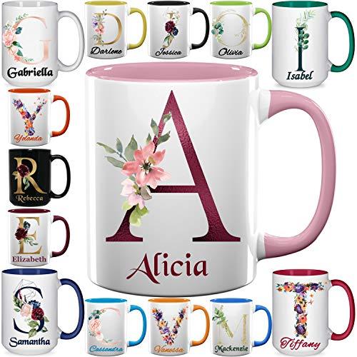 Custom Coffee Mugs - Personalized Ceramic Cups with Initial Name Monogram - 11 & 15 oz
