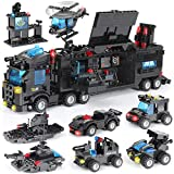 1110 PCS SWAT City Police Station Mobile Command Center Truck Car Building Blocks Set in 25 Different Models Police Cars, Helicopter, Boat, with Storage Box Roleplay Toys Gift for Kids Boys Girls 6-12