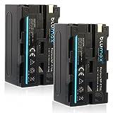 Blumax 2X Akku kompatibel mit Sony NP-F750 / F550 / F970 / F960-4000mAh - auch für Diverse Blitzgeräte Videoleuchten Fieldmonitore