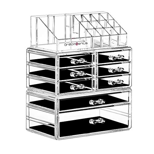 DreamGenius Makeup Organizer 3 Pieces Acrylic Cosmetic Display Cases with 8 Drawers for Jewerly Lipstick and Makeup Brushes, Stackable Makeup Storage Organizer Box for Dresser and Bathroom Countertop