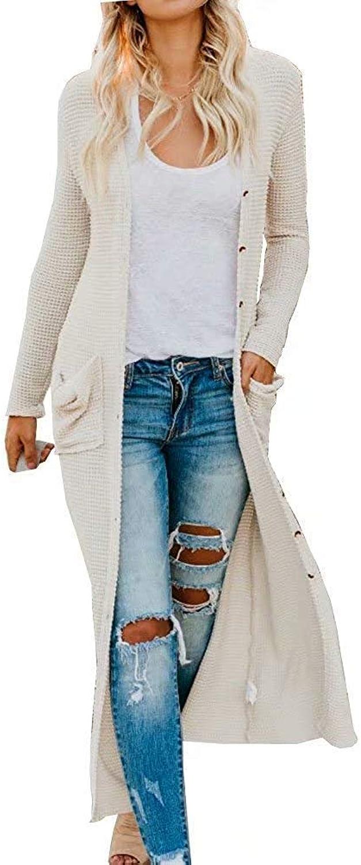 ALLAK Women's Open Placket Long Cardigan Sweater