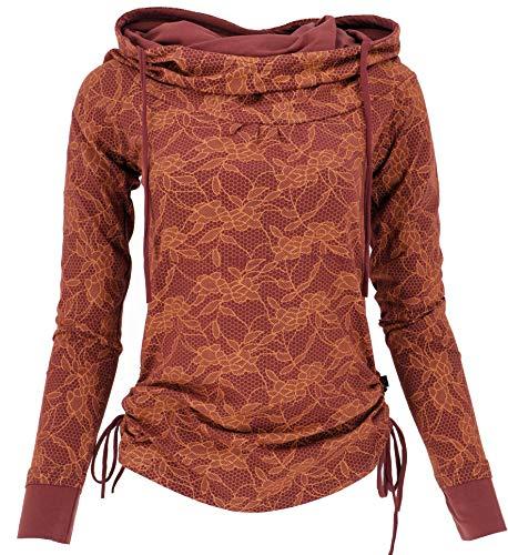GURU SHOP Longshirt aus Bio-Baumwolle, Shirt Schalkapuze, Damen, Dattelbraun/orange, Size:M (38), Pullover, Longsleeves & Sweatshirts Alternative...