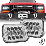 105W Pair DOT Approved 5''x7'' 6''x7'' Osram Chrome Projector Led Headlights with High/Low Beam and DRL Compatible with Jeep Wrangler YJ Cherokee XJ H6054 H5054 H6054LL 69822 6052 6053
