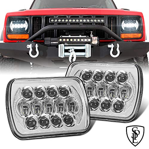 105W Pair DOT Approved 5  x7   6  x7   Osram Chrome Projector Led Headlights with High Low Beam and DRL Compatible with Jeep Wrangler YJ Cherokee XJ H6054 H5054 H6054LL 69822 6052 6053