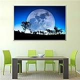 WSNDGWS Univers Lune Affiche Soie Tissu Terre Toile Peinture Murale planète Satellite Satellite système Solaire Salon décoration Peinture 30x45 cm