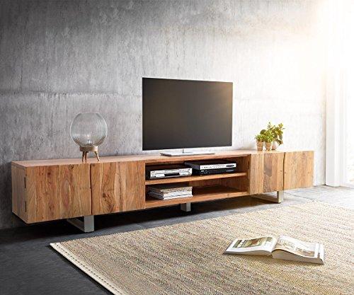DELIFE Fernsehtisch Live-Edge Akazie Natur 300 cm 4 Türen 2 Fächer Baumkante Lowboard