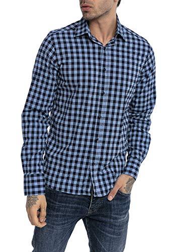 Redbridge Hemd für Herren Freizeithemd Langarm Baumwolle Kariert Modern Fit Blau L
