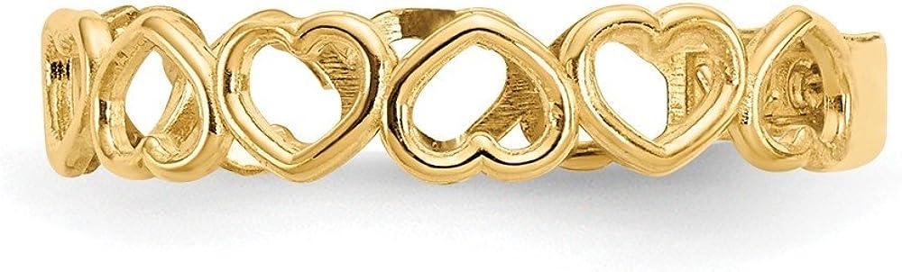 14K Yellow Gold Open Hearts Toe Ring