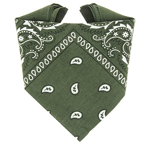 ...KARL LOVEN Bandane 100% cotone per donna uomo Bambini fazzoletto da collo bandana Verde Kaki originale motivo paisley copricapo sciarpa per capelli collo polso testa cravatta motociclista