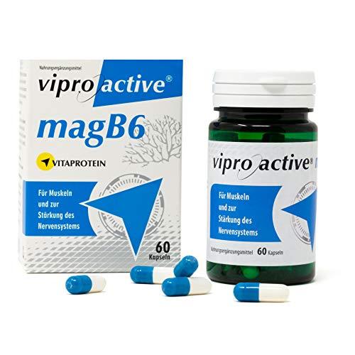 NEU | Viproactive® MagB6 | Kapseln mit Magnesium, Zink & Kalzium | Hift bei Magnesiummangel | Bessere Aufnahme der Nährstoffe durch patentiertes Vitaprotein | 60 Kapseln | In Deutschland hergestellt