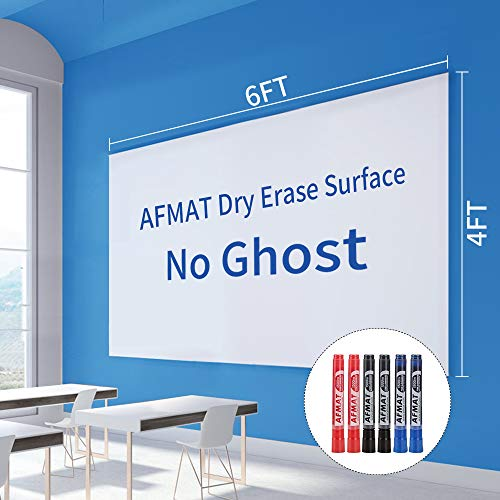Large White Board, Dry Erase Paper, Big Whiteboard, 6'x4' Large White Board Paper for Wall, Adhesive Whiteboard Wall Sticker for Walls/Tables/Doors, 6 Markers,Super Sticky,No Ghost, 72''x48''