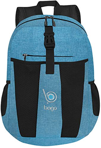 Bago - Zaino leggero da 25 l, impermeabile, ideale per viaggi ed escursioni, pieghevole e pratico per campeggio, sport all'aperto, SnowBlue (Blu) - BacPk-25-SnowBlue