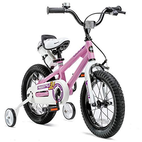 RoyalBaby Kids Bike Boys Girls Freestyle BMX Bicycle with Training Wheels Gifts for Children Bikes 14 Inch Pink Bikes Kids'
