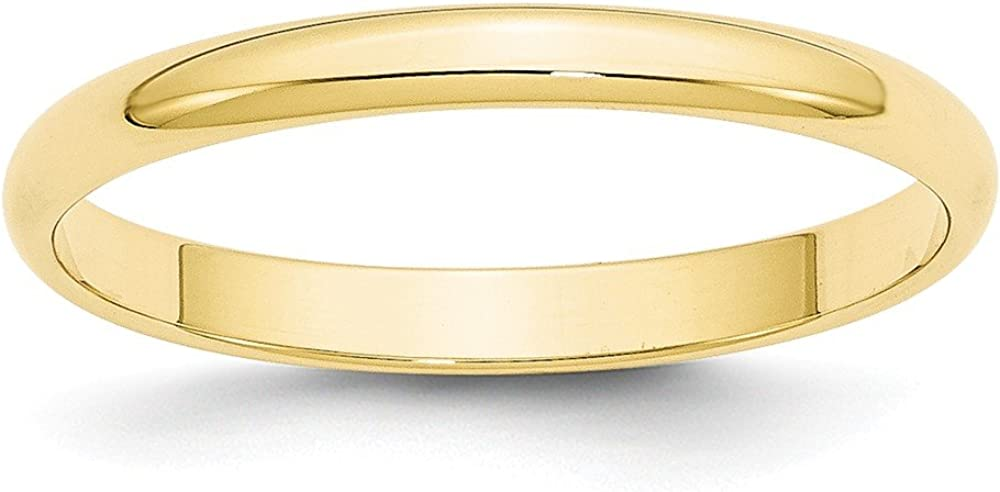10k Yellow Gold 2.5mm Plain Classic Dome Wedding Band Ring
