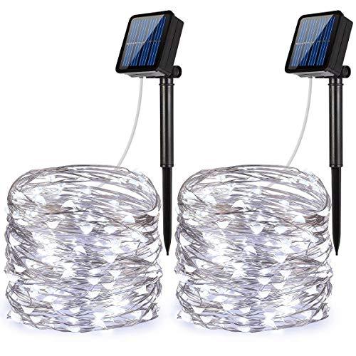 Criacr Sollampor utomhus, (100 LED 2 lägen) solcellsljus, 33 fot/10 m trädgårdssolljus, automatisk avstängning, vattentäta ljusslingor för jul, uteplats, trädgård, hem, fest (vit - paket med 2)