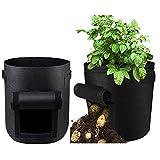 MBIO Potato Grow Bags 7 Gallon 2 Pack Garden Vegetable Planter Pot with Flap & Handles Tomato Planter Bags Thickened Non-Woven Fabric Pots (7 Gallon Potato Grow Bags)
