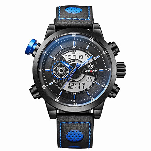 WEIDE WH-3401 Multi-Functional Waterproof Men's Boys LED Digital Analog Dual Time Display Sports Wrist Watch with Stopwatch/Date/Week/Alarm/PU Band (Black+Blue)