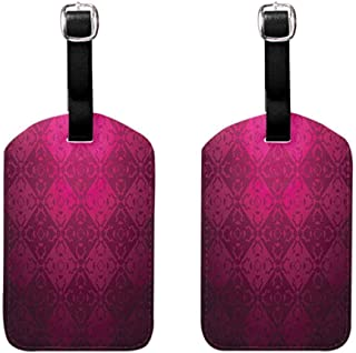 2 PCS Flexible luggage tag Magenta Decor Ornamental Dated Feminine Rectangular Forms Background Damask Past Design Quickly find the suitcase Maroon Fuchsia