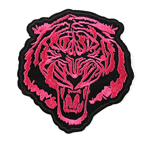 Tiger Patch The Roaring Bengal Striped Tiger Embroidered Badge Iron On Sew On Patch (Pink)