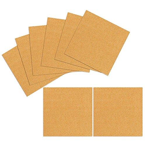 TRILUC, 12 x 12 Place and Stick Carpet Tile Squares. Non Slip Backing & Washable Floor Tile - 8 Pc Set - Orange