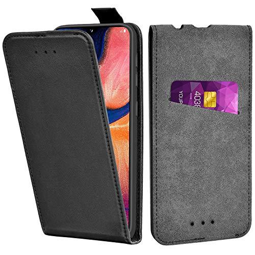 Adicase Galaxy A20e Hülle Leder Tasche für Samsung Galaxy A20e Handyhülle Flip Hülle Schutzhülle (Schwarz)