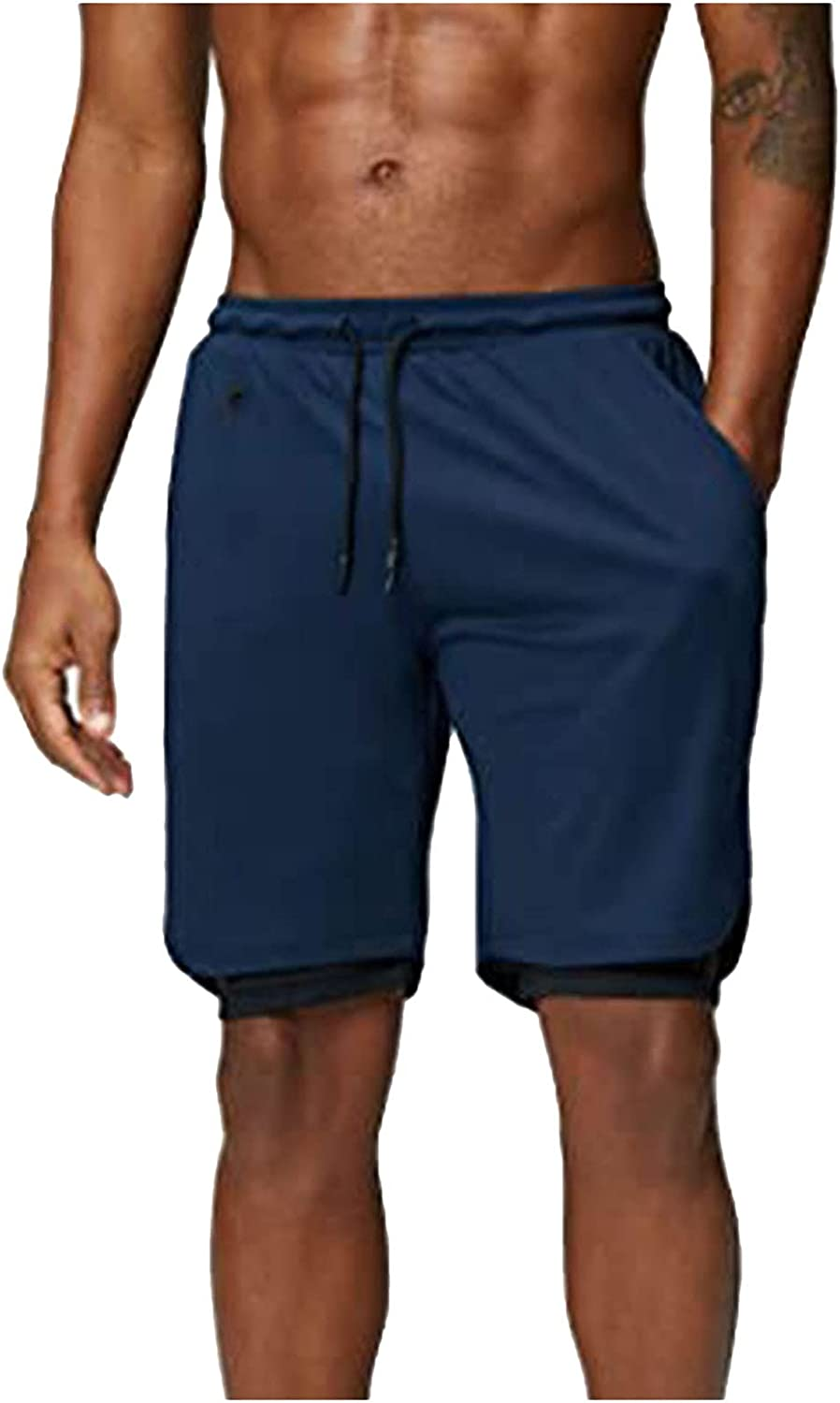 Gutori Men's Fashion and Handsome Summer Casual and Comfortable Breathable Cool Solid Color Soft Material Shorts