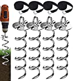 Eurmax 4-Pc Pack Spiral Stakes Heavy Duty Anchor Kit for Trampoline, Tents, tarps,...