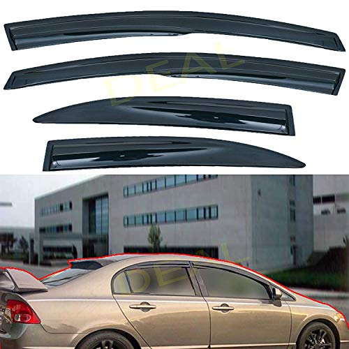 DEAL AUTO ELECTRIC PARTS 4-Piece Set 3D Wavy Style Smoke Vent Window Visor, JDM Mugen Outside Mount Tape-On Type Side Window Deflector, Custom Compatible With For 2006-2011 Civic 4-Door Sedan Only