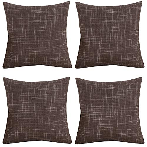 Gonove 4 Pack 45×45 cm Pillow Covers Polyester Throw Pillow Case Decorative Pillow Cover Square Cushion Cover for Sofa,Bed(001-Brown)