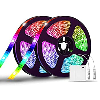 LED Strip Lights Battery Operated RGB LED Lights Strips Battery Powered 6.6FT 2PCs Led Battery Lights 3 Key Controller Battery Led Strip Lights 20 Colors Changing Flexible Lights for Home